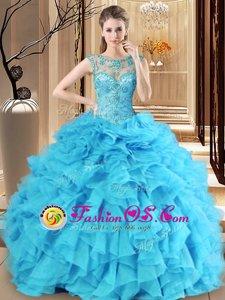 Stunning Floor Length Ball Gowns Sleeveless Royal Blue Vestidos de Quinceanera Lace Up