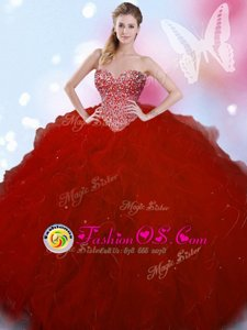 Hot Sale Wine Red Ball Gowns Beading Quinceanera Gowns Lace Up Tulle Sleeveless Floor Length