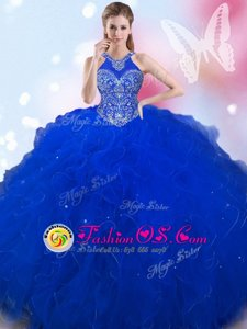 Halter Top Beading Quince Ball Gowns Royal Blue Lace Up Sleeveless