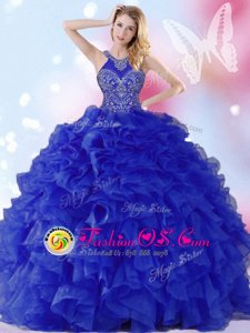 Lovely Ball Gowns Ball Gown Prom Dress Royal Blue Halter Top Organza Sleeveless Floor Length Lace Up