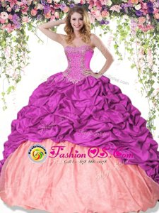 Floor Length Lace Up Quinceanera Gowns Hot Pink and In for Military Ball and Sweet 16 and Quinceanera with Beading and Ruffles