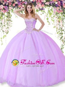 Beautiful Sleeveless Tulle Floor Length Lace Up 15 Quinceanera Dress in Lilac for with Beading