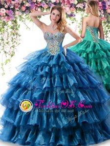 Enchanting Sweetheart Sleeveless Organza 15 Quinceanera Dress Beading and Ruffles Lace Up