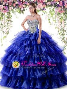 On Sale Fuchsia Zipper Quinceanera Gown Beading and Ruffles Sleeveless Floor Length