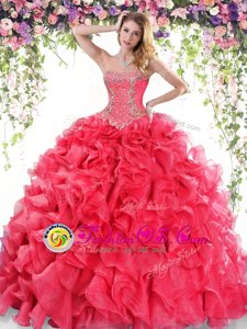 Fashionable Red Sweetheart Lace Up Beading and Ruffles Quinceanera Gowns Sweep Train Sleeveless