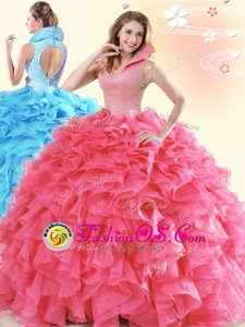 Flare Backless Floor Length Coral Red Quinceanera Dress Organza Sleeveless Beading and Ruffles