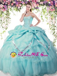 Aqua Blue Ball Gowns Beading and Pick Ups Quinceanera Dresses Lace Up Organza and Taffeta Sleeveless Floor Length