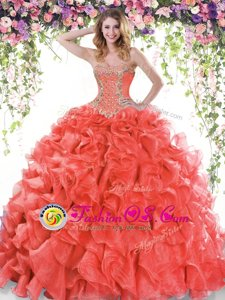 Sexy Sleeveless Beading and Ruffles Lace Up Quinceanera Gowns with Red Sweep Train