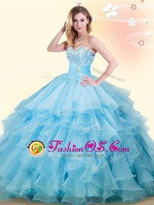 Baby Blue Sleeveless Beading and Ruffles Floor Length Quince Ball Gowns