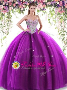 Sleeveless Beading Lace Up Quinceanera Dress