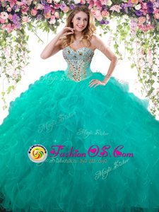 Beading Quince Ball Gowns Turquoise Lace Up Sleeveless Floor Length