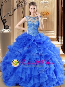 High End Scoop Sleeveless Lace Up Floor Length Beading and Ruffles 15th Birthday Dress