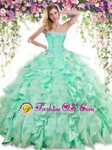 High End Floor Length Lace Up Sweet 16 Dress Apple Green and In for Military Ball and Sweet 16 and Quinceanera with Beading and Ruffles