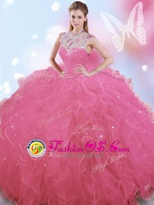 Customized Tulle High-neck Sleeveless Zipper Beading Quinceanera Gown in Rose Pink