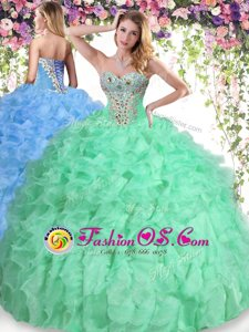 Super Floor Length Ball Gowns Sleeveless Apple Green Quinceanera Gowns Lace Up