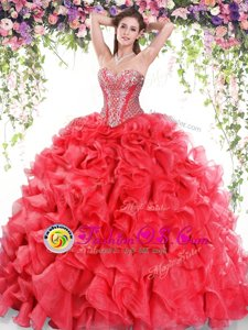 Red Sweet 16 Dresses Military Ball and Sweet 16 and Quinceanera and For with Beading and Ruffles Sweetheart Sleeveless Sweep Train Lace Up