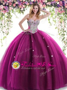 Floor Length Fuchsia Sweet 16 Dress Tulle Sleeveless Beading and Ruffles