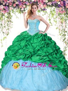 High Quality Pick Ups Multi-color Sleeveless Taffeta Lace Up Quinceanera Gown for Military Ball and Sweet 16 and Quinceanera
