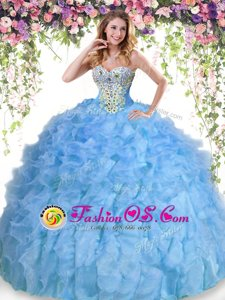 Baby Blue Quince Ball Gowns Military Ball and Sweet 16 and Quinceanera and For with Beading and Ruffles Sweetheart Sleeveless Lace Up