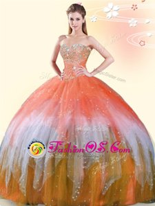 Luxurious Sweetheart Sleeveless Lace Up 15 Quinceanera Dress Multi-color Tulle
