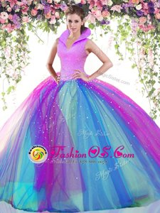 Lovely Halter Top Sleeveless Quince Ball Gowns Floor Length Beading and Lace and Appliques and Pick Ups Fuchsia Taffeta