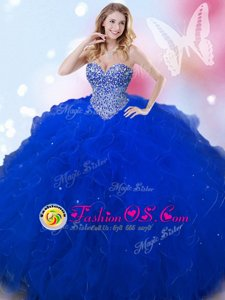 Royal Blue Tulle Lace Up Sweetheart Sleeveless Floor Length Sweet 16 Quinceanera Dress Beading
