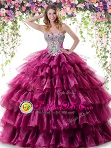 Nice Fuchsia Sweetheart Lace Up Beading and Ruffled Layers Quince Ball Gowns Sleeveless