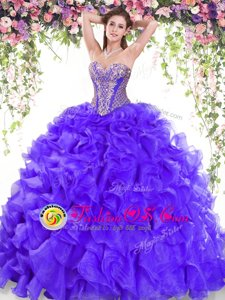 Free and Easy Royal Blue Sleeveless Beading Floor Length Quinceanera Dresses