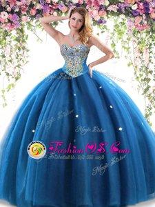 Wonderful Blue Sweetheart Neckline Beading Sweet 16 Dresses Sleeveless Lace Up
