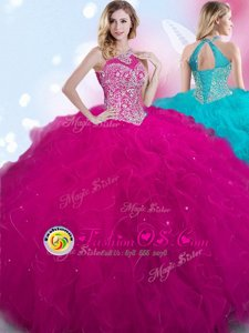 Decent Halter Top Sleeveless Lace Up Sweet 16 Quinceanera Dress Fuchsia Tulle