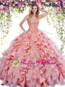 Inexpensive Sweetheart Sleeveless Quinceanera Dresses Floor Length Beading and Pick Ups Watermelon Red Organza and Taffeta