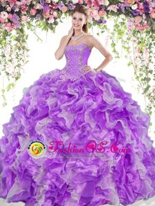 Romantic Organza Sweetheart Sleeveless Lace Up Beading and Ruffles Quinceanera Gown in White And Purple