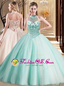 Halter Top Aqua Blue Lace Up Quinceanera Gowns Beading Sleeveless With Brush Train
