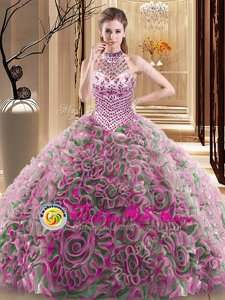 Multi-color Fabric With Rolling Flowers Lace Up Halter Top Sleeveless With Train Sweet 16 Quinceanera Dress Brush Train Beading