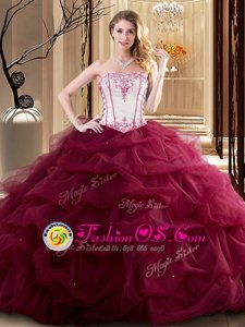 Custom Designed Sleeveless Lace Up Floor Length Embroidery and Ruffled Layers Sweet 16 Dresses