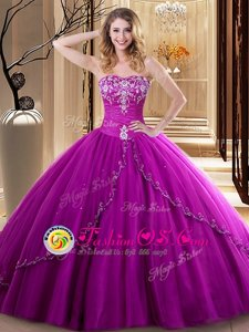 Pretty Fuchsia Lace Up Sweetheart Embroidery Sweet 16 Dresses Tulle Sleeveless
