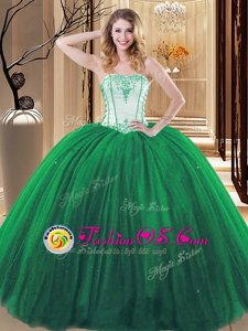 Green Sleeveless Embroidery Floor Length Quinceanera Dresses