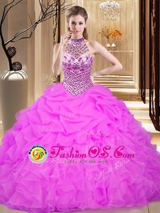Halter Top Lilac Sleeveless Floor Length Beading and Ruffles and Pick Ups Lace Up 15 Quinceanera Dress