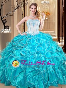 Ball Gowns Quinceanera Gowns Teal Strapless Organza Sleeveless Floor Length Lace Up