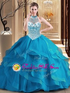 Tulle Halter Top Sleeveless Brush Train Lace Up Beading and Ruffles Quinceanera Gown in Blue