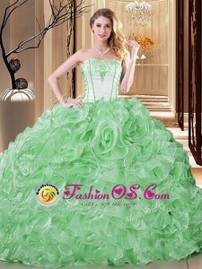 Green Sleeveless Embroidery and Ruffles Floor Length Sweet 16 Quinceanera Dress