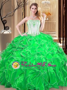 Green Lace Up Strapless Embroidery and Ruffles Quinceanera Gowns Organza Sleeveless