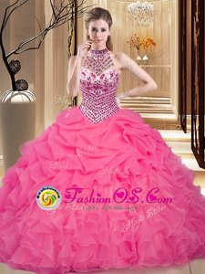 Unique Hot Pink Lace Up Halter Top Beading and Ruffles and Pick Ups Quinceanera Gown Organza Sleeveless