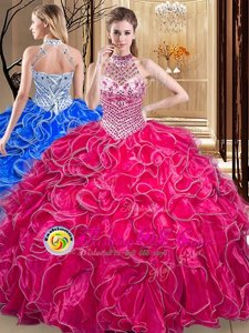 Halter Top Sleeveless Organza Quinceanera Dresses Beading and Ruffles Lace Up