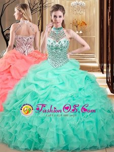 High End Halter Top Beading and Pick Ups Quinceanera Gowns Royal Blue Lace Up Sleeveless With Brush Train