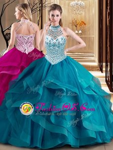 Clearance Halter Top With Train Ball Gowns Sleeveless Teal Sweet 16 Dress Brush Train Lace Up