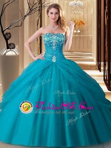 Teal Quince Ball Gowns Military Ball and Sweet 16 and Quinceanera and For with Embroidery Sweetheart Sleeveless Lace Up