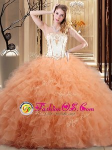 Sweet Organza Sleeveless Floor Length 15 Quinceanera Dress and Embroidery and Ruffled Layers