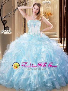 Light Blue Lace Up Strapless Embroidery and Ruffles Quinceanera Gown Organza Sleeveless