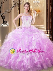 Lilac Sleeveless Organza Lace Up Sweet 16 Dresses for Military Ball and Sweet 16 and Quinceanera